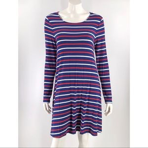 Old Navy Swing Dress Large Navy Blue White Red